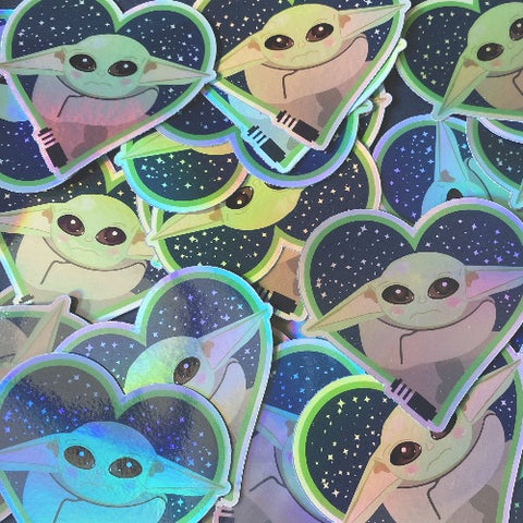 Holographic Heart Shaped Baby Yoda Sticker