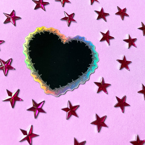 Holographic Barbed Wire Heart Mini Sticker