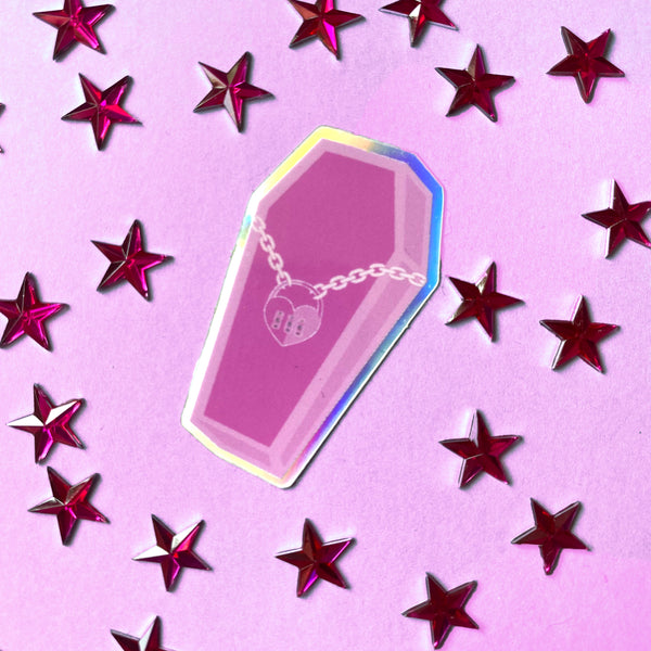 Holographic Pink Coffin Mini Sticker
