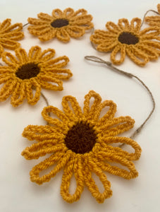 Crochet Summer Sunflower Garland Bunting Mustard/Brown