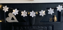 Load image into Gallery viewer, Crochet Sparkle Snowflake Bunting