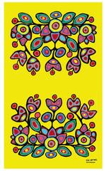 "Oscardo - Norval Morrisseau - Microfibre Tea Towel - ""Floral on Yellow"""