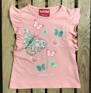 Kid's T-shirt - Thunder Bay, Sleeveless, Butterflies - Pink