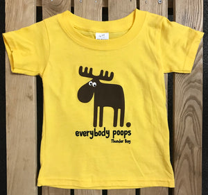 "Kid's T-shirt - Thunder Bay, ""Everybody Poops"" - Yellow"