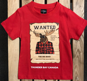 "Kid's T-shirt - ""Wanted"", Thunder Bay, Canada, with moose - Red"
