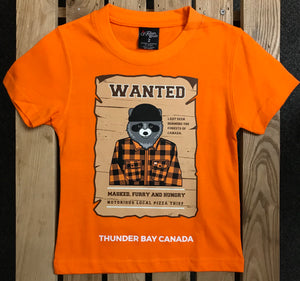 "Kid's T-shirt - ""Wanted"", with racoon, Thunder Bay, Canada - Orange"