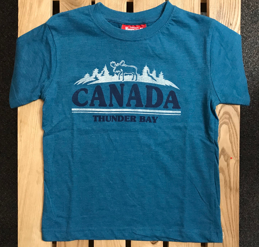 Kid's T-shirt - Thunder Bay, Canada, with moose - Blue