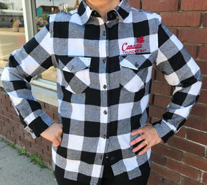 Ladies Plaid Shirt - Thunder Bay, Canada - Black/White