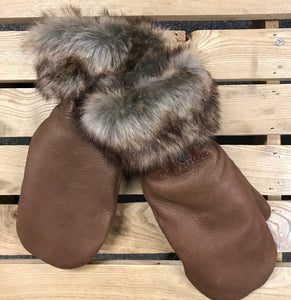 Hides in Hand - Deerskin Leather Mitt with Faux Fur Trim - Brown