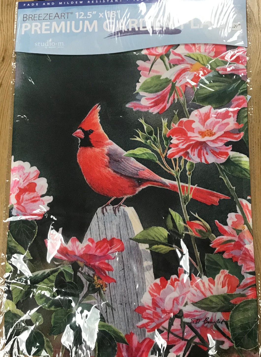 Garden Flag - Cardinal with Pink Flowers