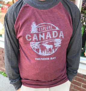 "Men's Long Sleeve Baseball Shirt - ""Thunder Bay, Canada"" - Burgundy/Gray"