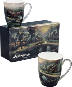 "McIntosh China - Thomas Kinkade - Set of 2 - ""Lamplight Village"""