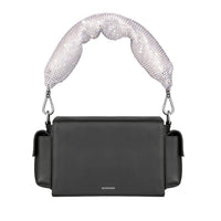Women's Designer Black Crossbody Bags, Small Leather Box Bag, Crystal-Embellished Leather Bag, Women's Designer Black Top Handle Bag, Padded Leather Bag, Black Minimal Crossbody Bag