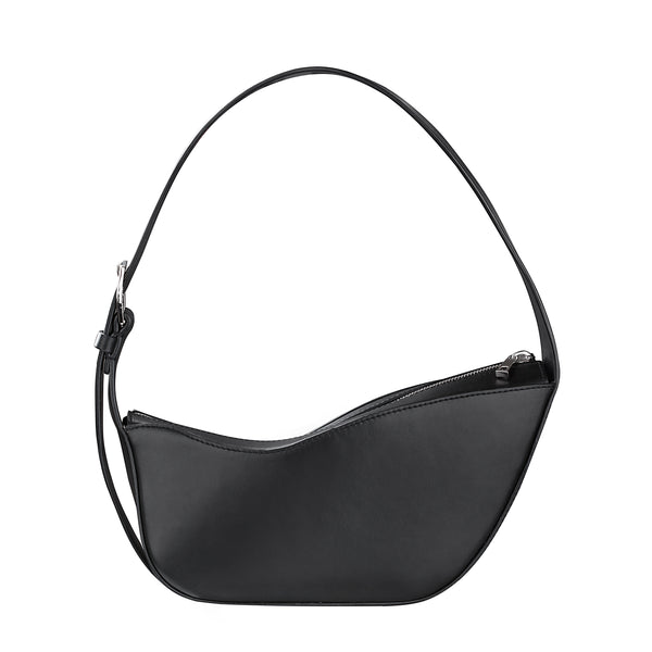 BLACK WAVE BAG - kozhuhar, Half Moon Shoulder Bag , Women's Designer Black Top Handle Bag