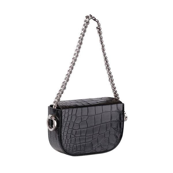 BLACK CROCO SUM BAG - kozhuhar , Leather Top Handle Bag, Croc-Effect Leather Shoulder Bag, Chain-Detailed Leather Top-Handle Bag, Women's Designer Black Crossbody Bag