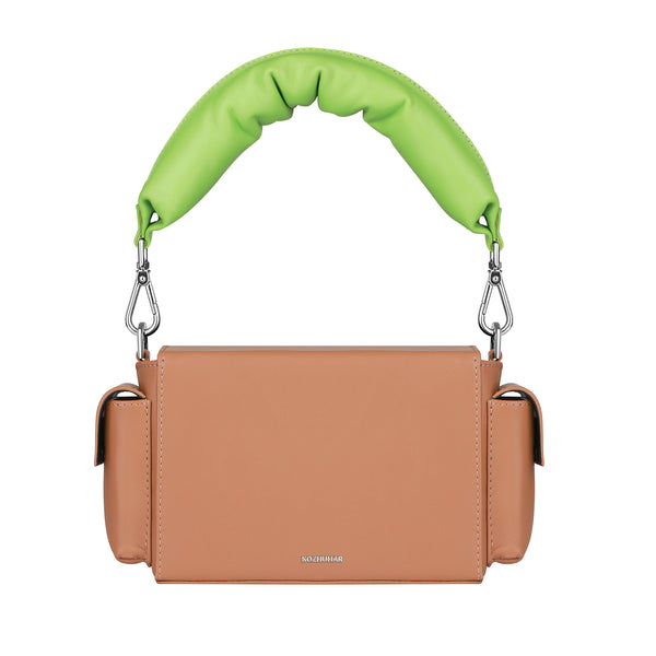 CAMEL BRICK BAG - kozhuhar, Women's Designer Camel Crossbody Bags, Small Leather Box Bag, Women's Designer Camel Top Handle Bag, Padded Leather Bag, Camel Minimal Crossbody Bag