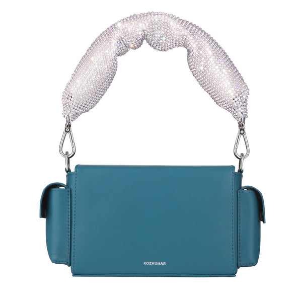 Women's Designer Crossbody Bags, Small Leather Box Bag, Crystal-Embellished Leather Bag, Women's Designer Blue Top Handle Bag, Padded Leather Bag, Minimal Crossbody Bag