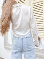 Load image into Gallery viewer, Versatility Crop Long Sleeve Top in White (Backorder)