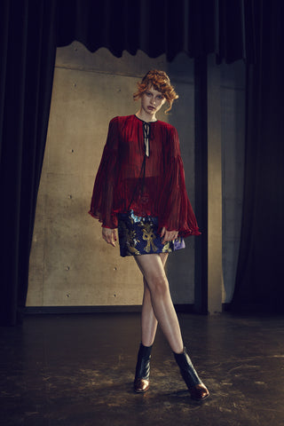 Romance Was Born Opulant Silk Brocade Skirt