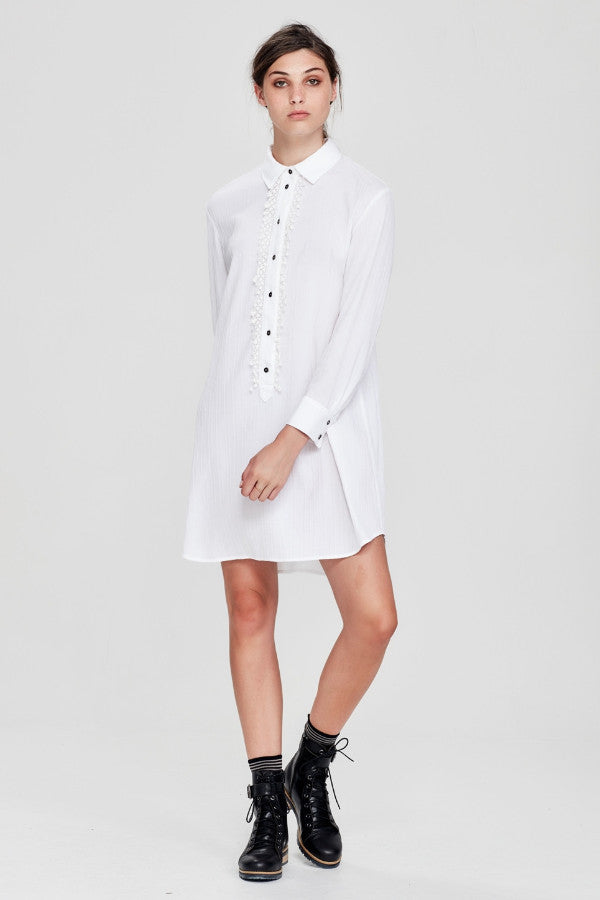 Sylvester by Kate Sylvester Dressed Up Shirtdress White Crinkle