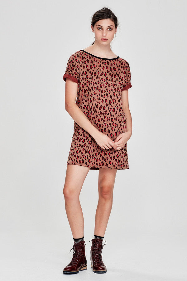 Sylvester by Kate Sylvester Leopards Spots Shift Dress Caramel