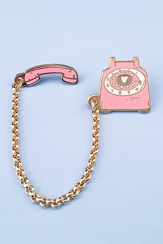 Little Arrow Rotary Phone Pin Pink