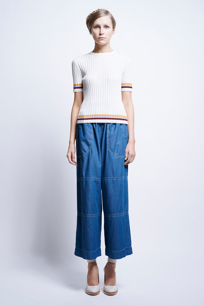 Karen Walker Equip Rib Tee Striped Utility Rib Off White