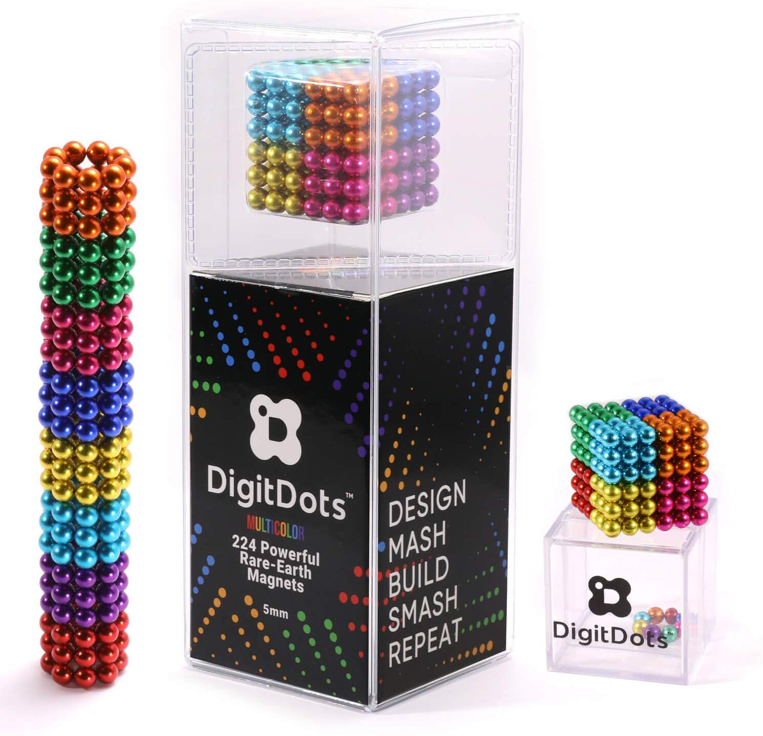 BrainSpark DigitDots Multi Colored 224 Pieces 5mm Magnetic Balls 8 Colors