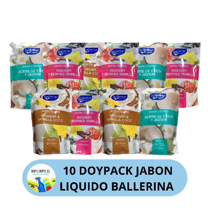 10 DOYPACKS JABON BALLERINA 900 ML