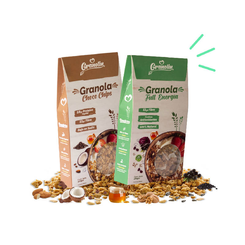 Pack Duo 400g Granola Choco Chips + Full Energía
