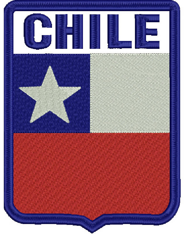 507 Chile Escudo Rectangular Parche Bordado