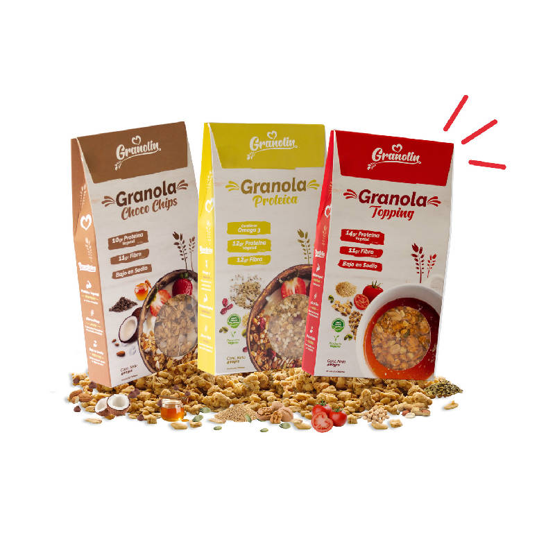 Trio 400g - Granola Proteica + Choco Chips + Topping