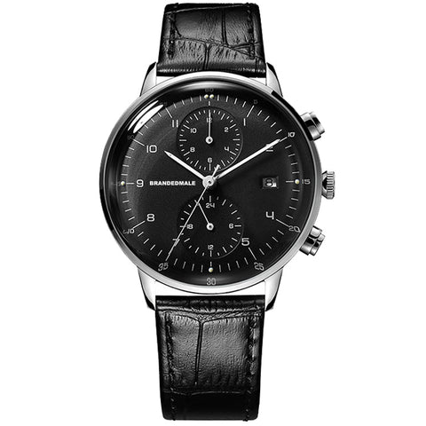 BrandedMale® Black Leather Watch