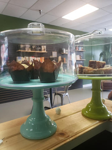 A yummy homemade freshly baked cake on a cake stand!