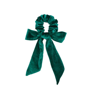 green velvet bow scrunchie