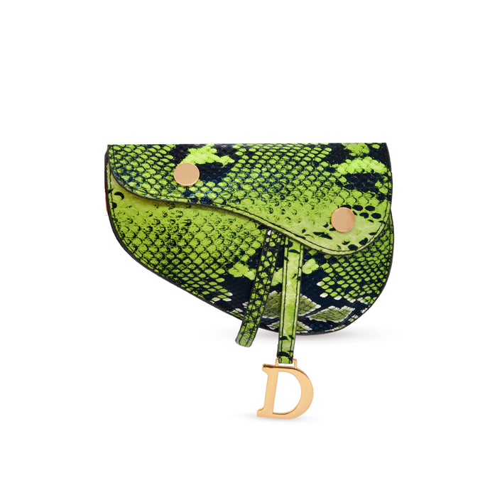 green animal print belt bag