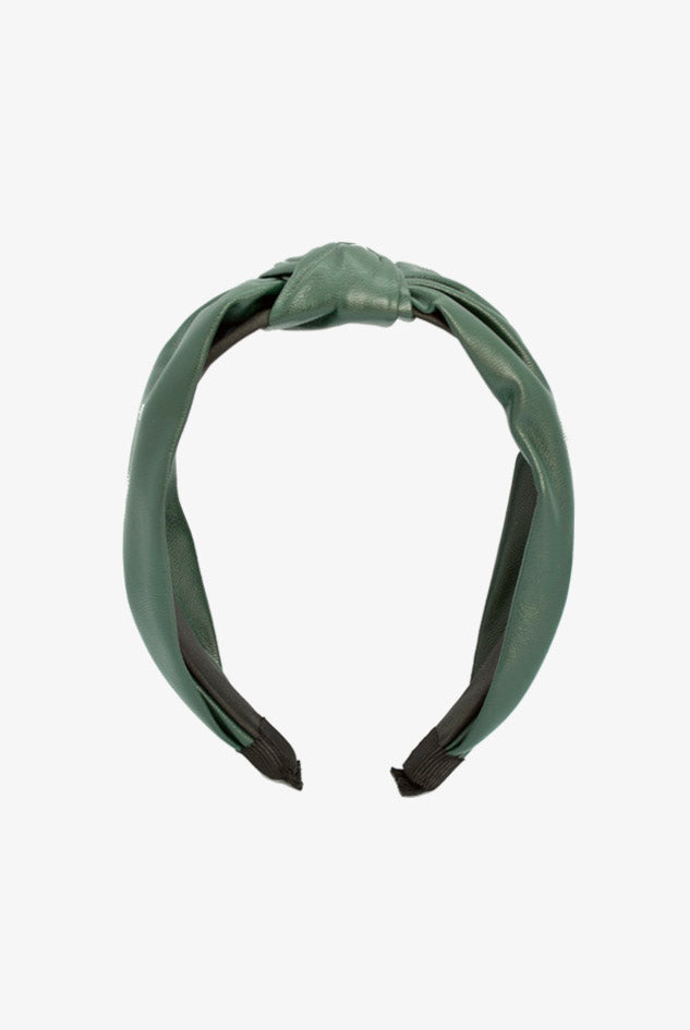green leather headband