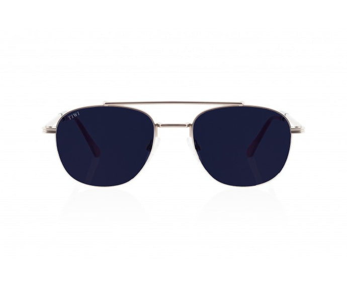 TIWI LEVY SILVER WITH CLASSIC BLUE LENSES