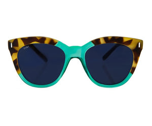 TIWI LUNE RUBBER GREEN TORTOISE/SHINY MINT WITH CLASSIC BLACK LENSES