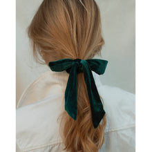 Load image into Gallery viewer, green velvet bow scrunchie