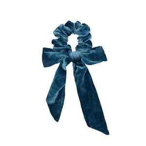 blue velvet bow scrunchie