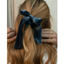 Load image into Gallery viewer, blue velvet bow scrunchie