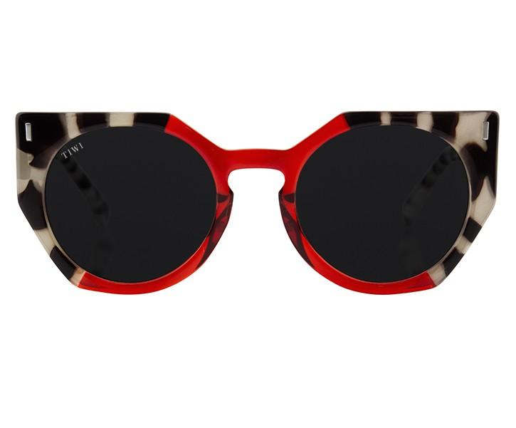 TIWI VENUS WHITE TORTOISE/TRANSP RED WITH BLACK LENSES
