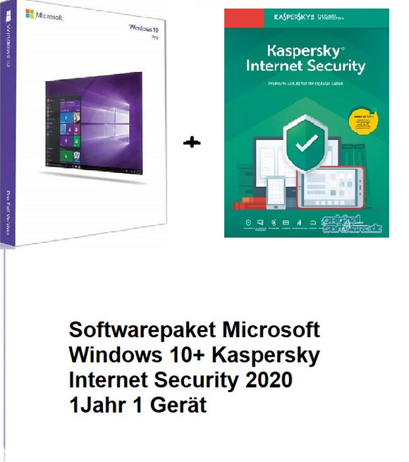 Softwarepaket Microsoft Windows 10 Professional + Kaspersky Internet Security 2020 1 Jahr