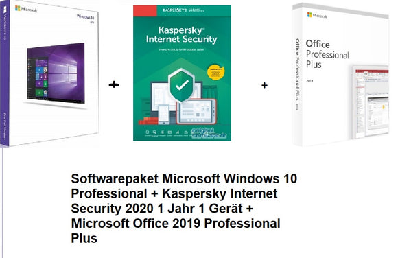 Softwarepaket Windows 10 Pro + Kaspersky Internet Security 2020 1 Jahr 1 Gerät und Office 2019 PP