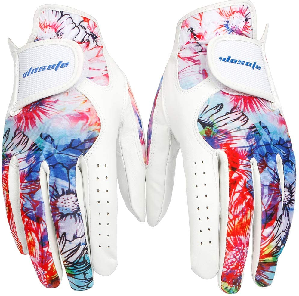 Golf Glove Women Pair Cool Leather Both Hand Summer Floral Colorful Breathable Sport Gloves