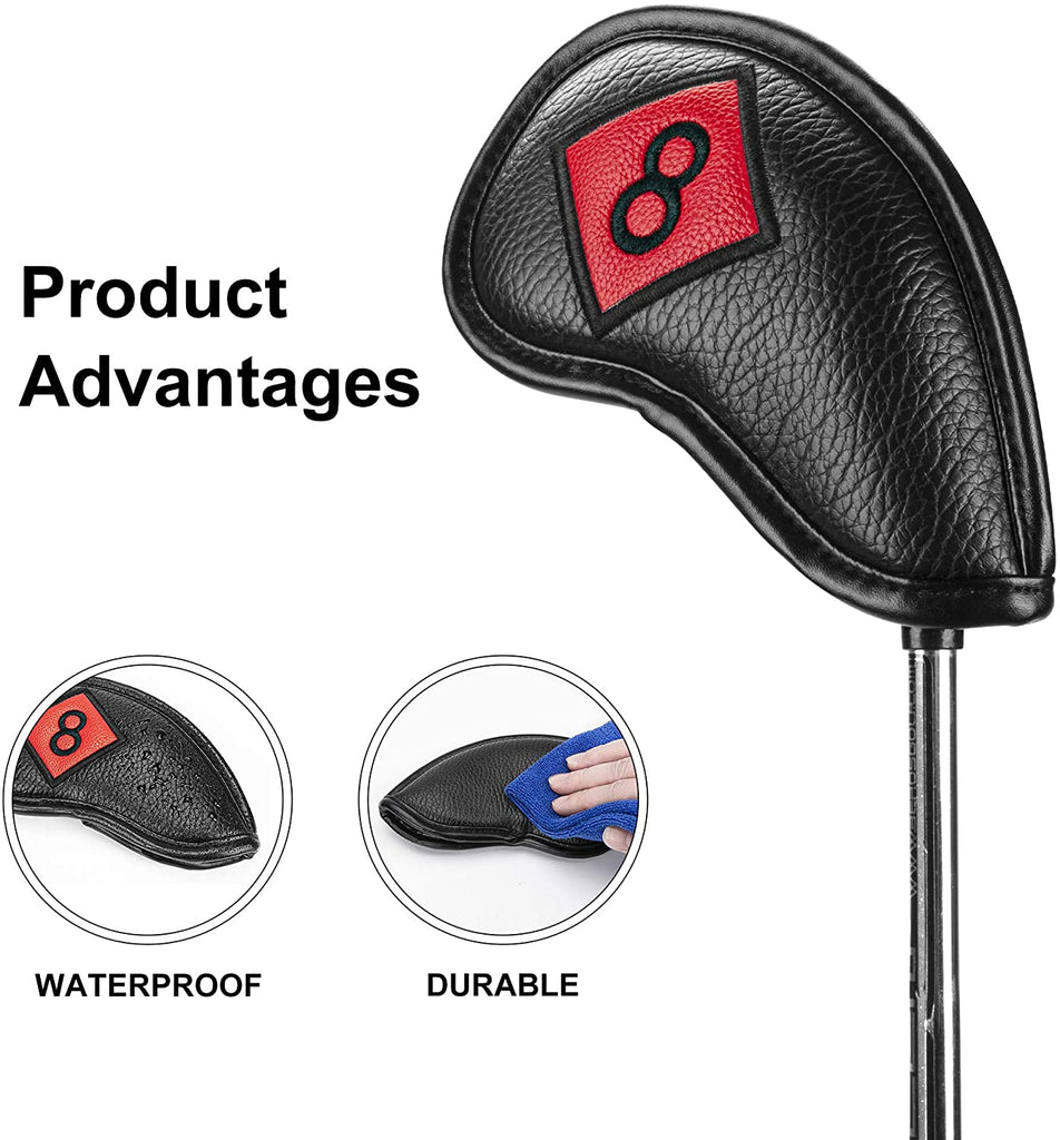 Golf Iron Head Covers Set for Right Handed Black Color PU Leather 11pcs/lot Including 4 5 6 7 8 9 Pw Aw Sw Lw X Number Embroideried Moderately Thick Waterproof Fit Most Brands