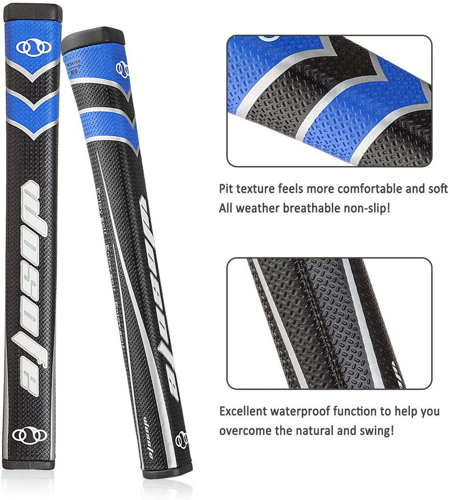 Golf Putter Grips Midsize for Men 45g 2.0 Fit Most Iron Club Pistol Shape Lightweight Tacky Surface Delicate Pattern Soft Polyurethane Material Comfortable Feel 6 Colors for Choose