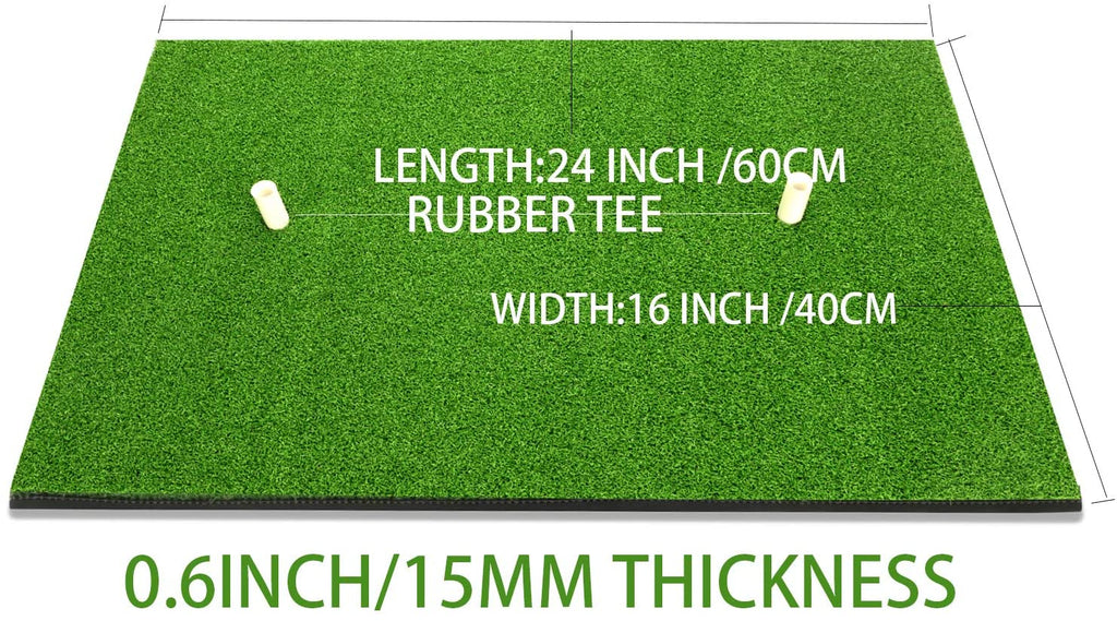 "Golf Hitting Mat 16""x24"" Residential Practice Mat with Rubber Tee Holder - Portable Outdoor Sports Golf Training Turf Mat Indoor Home Use or Outdoor Backyard"