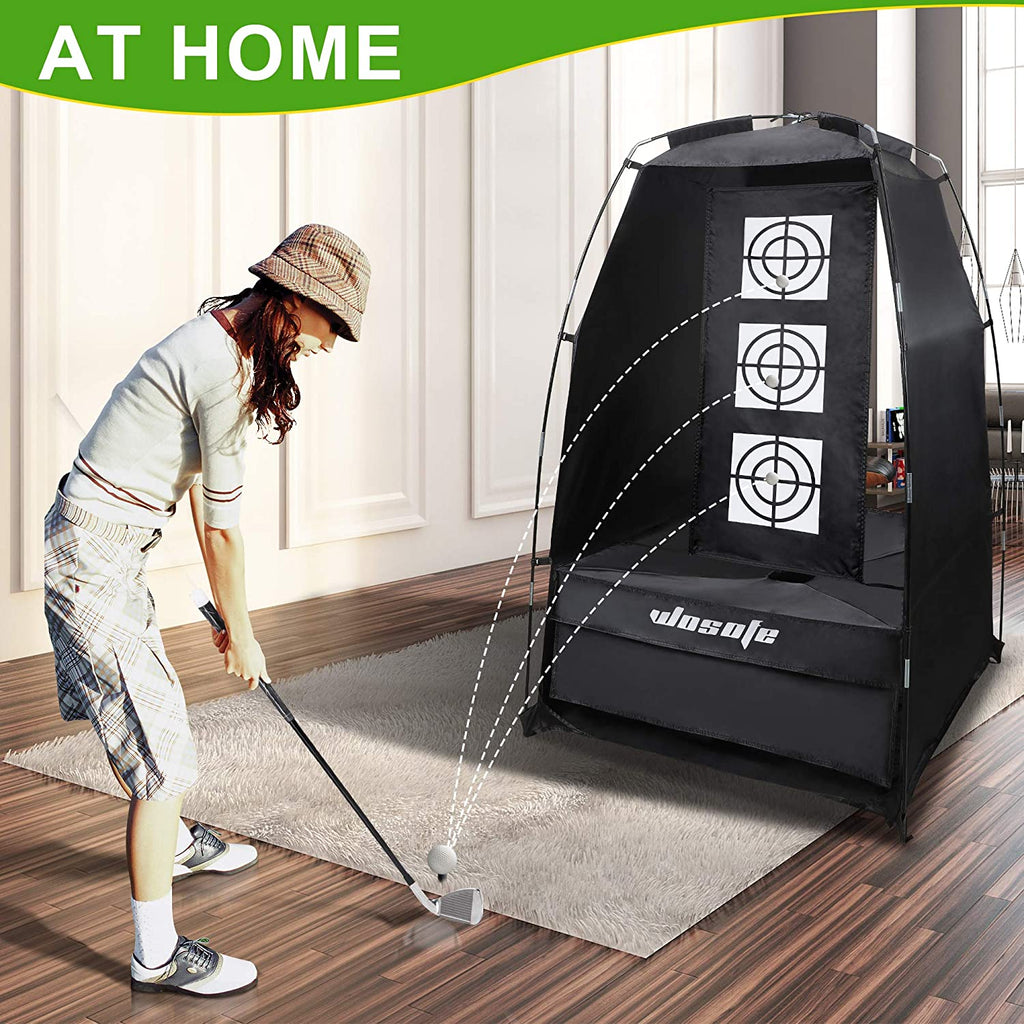 Wosofe golf practice driving the batting net 3.8 x 6.5 feet (about 9.1 x 16.5 meters) and cutting the ball professionally 2 targets for indoor and outdoor use in the backyard